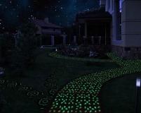 Тротуарная плитка, покрытая светящейся краской